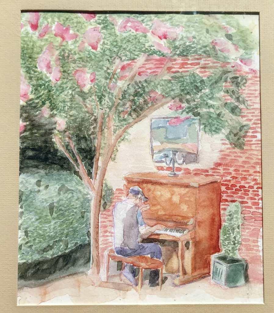 """Pat at Piano - 8.5x11"""" - Sold"""