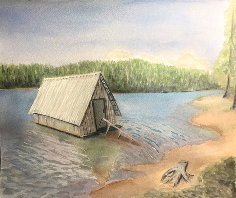 """Paradise Lake Structure - 16x20"""" - Sold"""